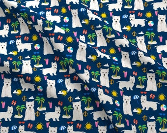 Westie  Beach Fabric - Westie Dogs Beach Summer Tropical Island Vacation  Navy By Petfriendly - Cotton Fabric By The Yard With Spoonflower