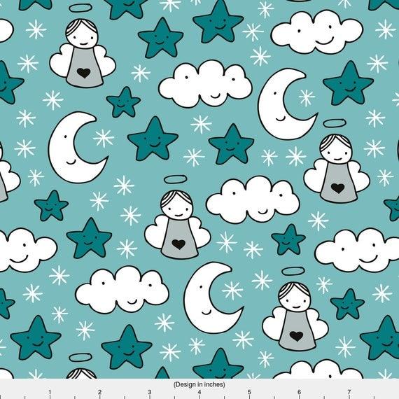 Angel fabric sweet dreams sleepy night moon clouds angels for Moon and stars fleece fabric