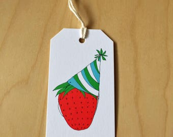 strawberry birthday - set of 6 mini gift tags - Rachelink hand drawn cards