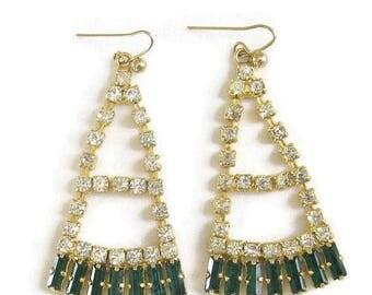 Art Deco style Earrings Emerald Green and Clear Rhinestones Dangle Vintage