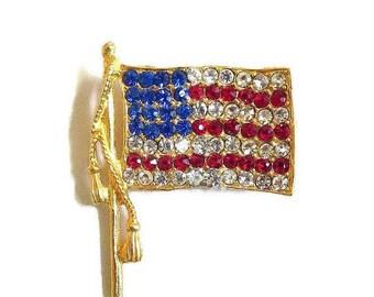 SALE Red, White and Blue Rhinestone Flag Brooch Vintage Patriotic Pin