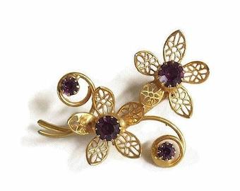 SALE Purple Rhinestone Filigree Flower Brooch Vintage Dainty
