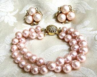 SALE Pink Faux Pearl Bracelet and Earrings Set Vintage Wedding Bride