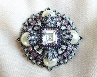 Faux Pearl & Purple and Clear Rhinestone Layered Brooch Pendant or Enhancer Vintage signed Joan Rivers