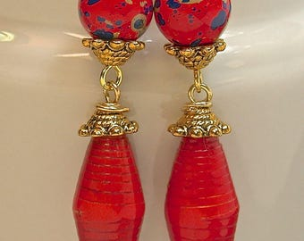 Vintage Japanese Red Blue Picasso Lucite Bead Earrings,Vintage African Recycled Red Paper Beads,Gold French Ear Wires - GIFT WRAPPED