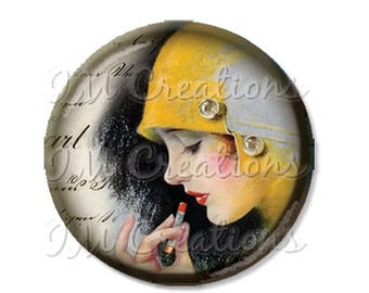 """25% OFF - Pocket Mirror, Magnet or Pinback Button - Wedding Favors, Party themes - 2.25""""- Vintage 1920s Touch Up MR157"""