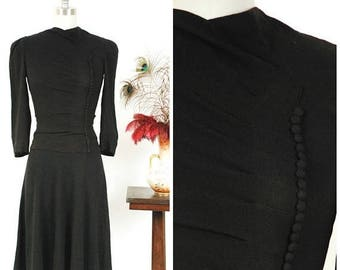 Memorial Weekend Sale - Vintage 1930s Dress - Chic Rayon Late 30s - Early 40s Button Accented Little Black Dress with Peaked Shoulders