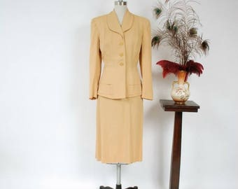 50% CLEARANCE 1940s Vintage Suit - Spring 2017 Lookbook - The Savannah Suit - Golden Camel Yellow Gabardine 40s Suit with Button Accents