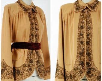 RESERVED ON LAYWAY Vintage 1940s Jacket - Rare Evalen Original Caramel Colored Beaded Swing Jacket with Exquisite Bronze Beading
