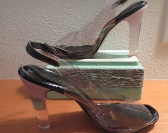 "Vtg 1980s Women's Clear Vinyl and Lucite Heel Shoes / Gallenkamp Styled in Italy / Clear Vinyl with Lucite Heels / 4"" Heels / Size 7 /"