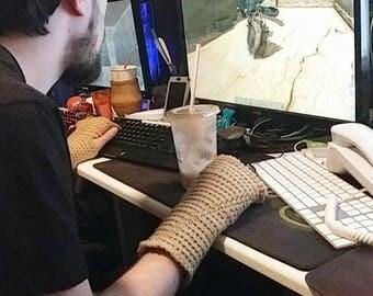 Unisex Fingerless Gloves - Tan Texting Gloves, Crocheted Wristlets, Arm Warmers, Unisex Texting Gloves, Gamer Gloves, Ladies Gloves, Custom