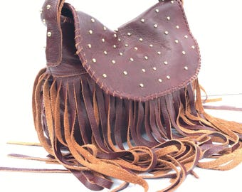Sale Large Leather Fringe Hobo Bag with Whipstitch Lacing