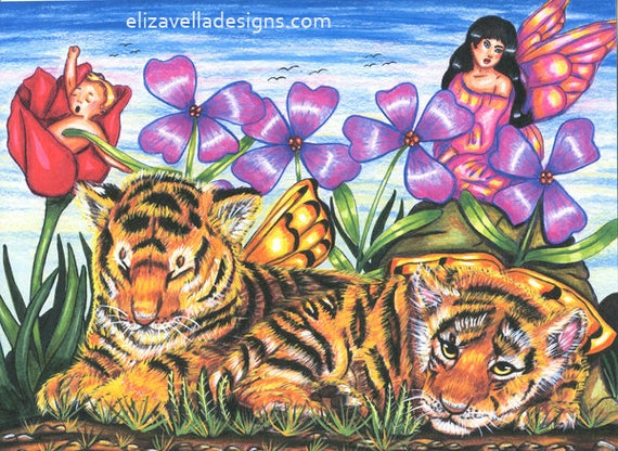 tiger cubs Fairies flowers original art print fantasy beasts colored pencil pen drawing fairytale artwork by Elizavella Bowers