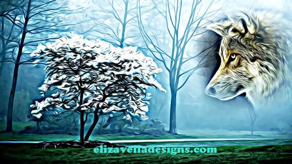 wolf spirit and magic tree abstract printable wall art screen saver digital download animal images home livingroom bedroom decor