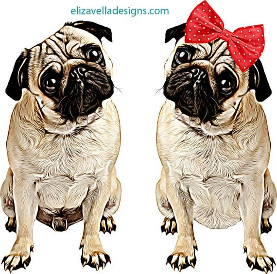 tan black male and female pug dogs printable wall art puppy dogs digital download art animal graphics images