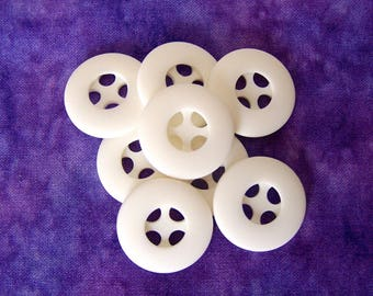 Matte White Buttons, 23mm 7/8 inch - White Retro Wheel Plastic Sew Through Buttons - 8 VTG NOS White Buttons w/ Recessed Sewing Holes PL147