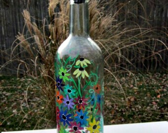 Hand Painted Dish Soap Dispenser, Clear Wine Bottle, Colorful Flowers, Wine Bottle Soap Bottle, Oil and Vinegar Bottle