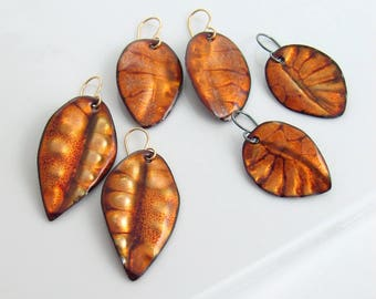Fall Golden Leaf Earrings, Enamel Art Dangles, Rich Autumn Fashion, One of a Kind Original Gift for Her, WillOaks Studio