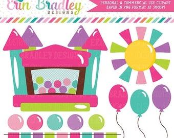 80 OFF SALE Bounce House Clipart Graphics Instant Download Bouncy Castle Digital Clip Art For