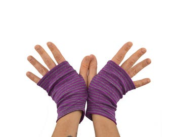 Arm Warmers in Purple and Grey Stripes - Shortie Fingerless Gloves