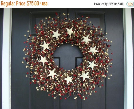 SUMMER WREATH SALE Berry Wreath, Patriotic Wreath, Stars and Stripes Americana Wreath, Memorial Day Wreath, Rustic Berry Wreath, Red White a