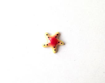 Miniature Ceramic Starfish, yellow, red, dots, mini, small, tiny, little, miniature, ceramic animal, tiny animal, decoration, mini animal