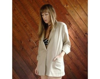 15% Memorial Day Wknd ... Oversized Woven Beige Blazer Jacket - Vintage 80s, early 90s - MEDIUM
