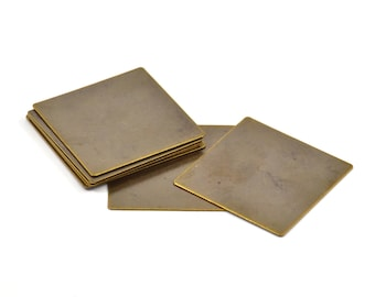 Brass Square Blank, 10 Antique Brass Square Blanks  (30mm) Abl 676 K111