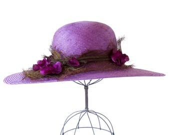 Wide Brimmed Straw Hat Purple Straw Hat Fall Fashion Women's Hat Wedding Hat Mother's Day Hat 1920s Hat Tea Party Church Hat Garden Party