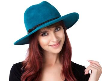 Women's Fedora Hat Western Style Hat Wide Brimmed Women's Hat Fall Fashion Fall Accessories Winter Accessories Aqua Blue Hat Teal Fedora