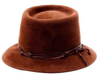 Brown Hat Women's Hat Western Style Hat Fall Fashion Winter Accessories Gaucho Hat Porkpie Hat Men's Hat Winter Hat Gift For Men