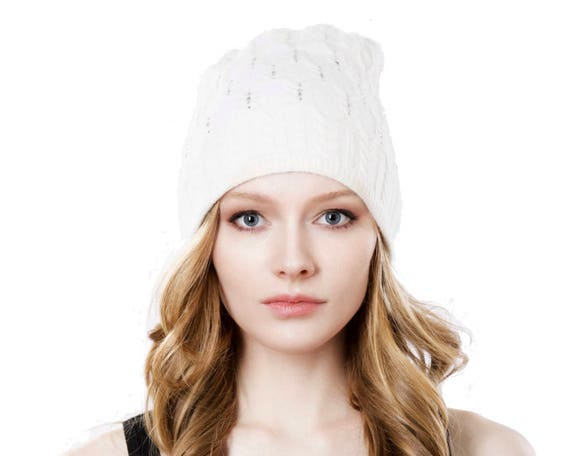 Women's Gift Slouchy Hat Cable Beanie Cashmere Wool Hat Beanie Warm Winter Hat Women's Hat Spring Accessories Spring Style White Knit Hat
