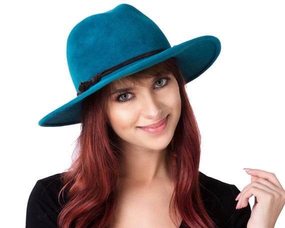 Women's Fedora Hat Western Style Hat Wide Brimmed Women's Hat Fall Fashion Fall Accessories Winter Accessories Aqua Blue Hat Teal Fedora