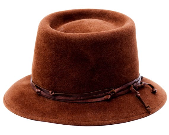 Brown Hat Women's Hat Western Style Hat Fall Fashion Winter Accessories Gaucho Hat Porkpie Hat Men's Hat Winter Hat Gift For Men