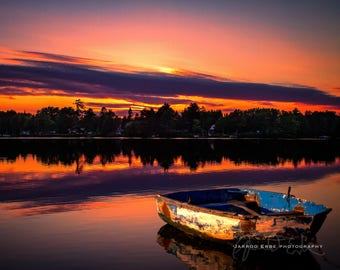 Rowboat at Sunset - Outdoor Photography - Lake Photography