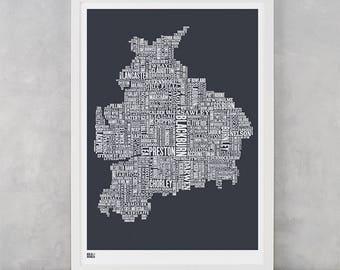 Lancashire Type Map, Lancashire, Preston, Burnley, England Type Map, Lancashire Word Map, UK Type Map, United Kingdom Map, Typography Gift