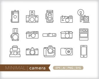 Minimal camera line icons | EPS AI PNG | Geometric Photography Clipart Design Elements Digital Download