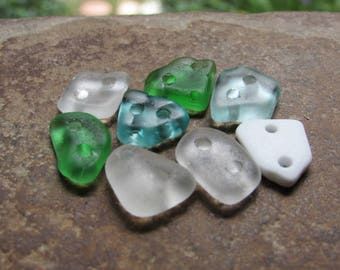 FLAT Tiny Beach Glass CONNECTORS Sea Glass Connectors Beads