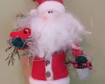 Woodland Father Christmas Miniature  Felted 4 to 5 inch Felted Wool Ornament - NEW for 2017