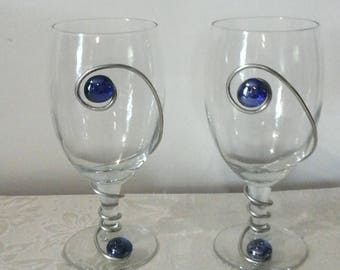 wire wrapped goblets with blue adornment