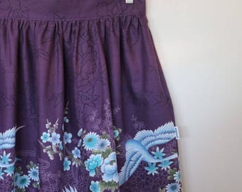 blue cranes...ladies gathered skirt with pockets in vintage cotton