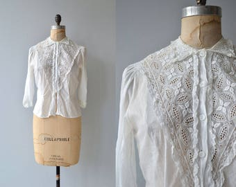 June Song blouse | vintage 1950s blouse | white cotton 50s blouse