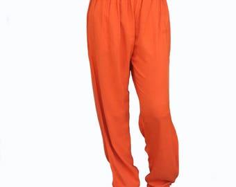 Tienda Ho Pumpkin Orange Cotton Rayon Moroccan Casual Pants in Sonya Design - One Size OS