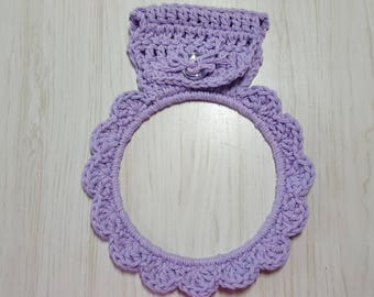 XL Towel Holder Crocheted Ring Lavender Purple
