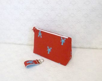 Celebrate8K Preppy Red Lobster Lilly Makeup Bag Case with Mini Keychain