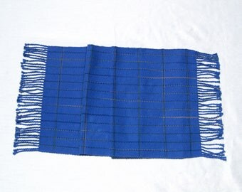 "51"" Hand Woven Blue Table Runner Woven Dresser Scarf Buffet Scarf Hand Woven Coffee Table Runner Blue Herringbone Hand Woven Table Runner"