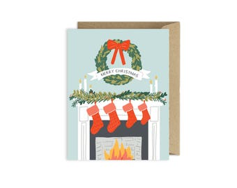 Merry Christmas Fireplace Stockings Card