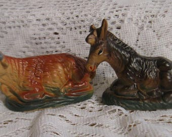 """Vintage Nativity Brown Cow and Donkey - 3 3/4"""" - Ceramic - Made in Japan"""