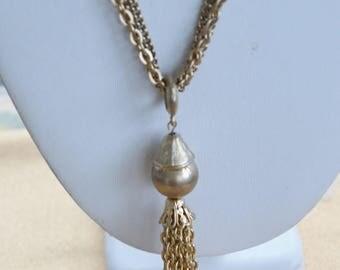"On sale Pretty Vintage Gold tone Tassel Necklace, 24"", ""Dynasty"" (AC2)"