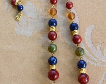 "On sale Multi-Colored Beaded Necklace, Gold tone, Vintage, up to 27"", ""Liz Claiborne"" (AN16)"